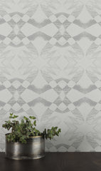 eco friendly gray geometric wallpaper Lucina by elworhty studio printed in usa