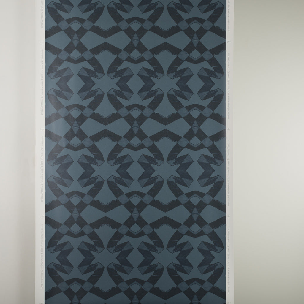 eco friendly modern edgy blue petrol geometric wallpaper Lucina by elworthy studio