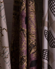 eco friendly textural purple gold black fabric
