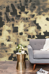 eco friendly textural black and gold wallpaper mural made in usa