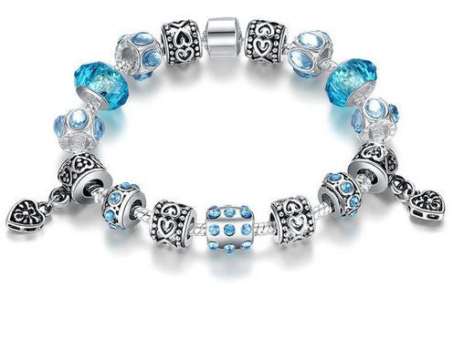 "Authentic Lenora Loaded ""Light Hearted"" Silver Snake Chain Classic Barrel Clasp European Charm Bracelet in Blue"