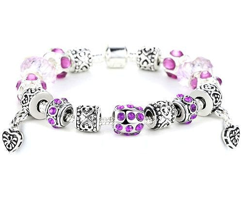"Authentic Lenora Loaded ""Light Hearted"" Silver Snake Chain Classic Barrel Clasp European Charm Bracelet in Purple"
