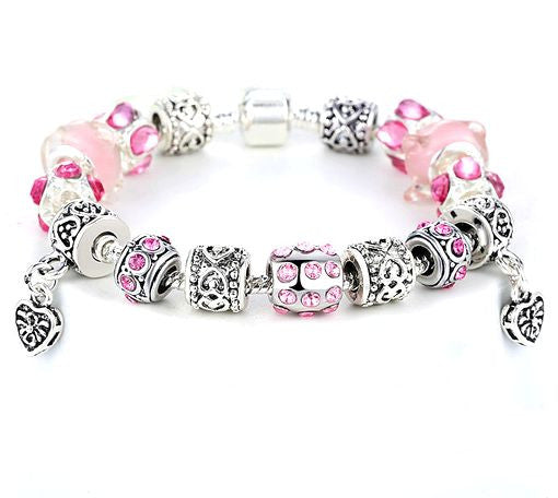 "Authentic Lenora Loaded ""Light Hearted"" Silver Snake Chain Classic Barrel Clasp European Charm Bracelet in Pink"