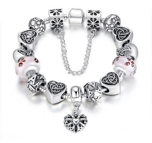"Authentic Lenora Loaded ""Tribal Heart"" Silver Snake Chain Classic Barrel Clasp European Charm Bracelet"