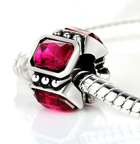 Authentic Lenora Silver Glitterati Ruby CZ European Charm Bead