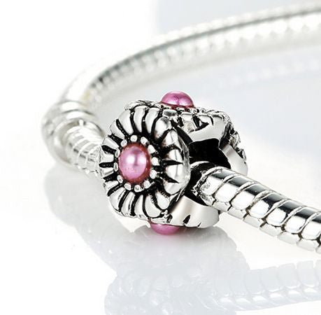 Authentic Lenora Silver Garden Flower Pink Pearl European Charm Bead
