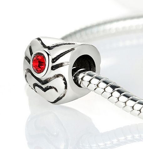 Authentic Lenora Silver Decorated Heart Red CZ European Charm Bead