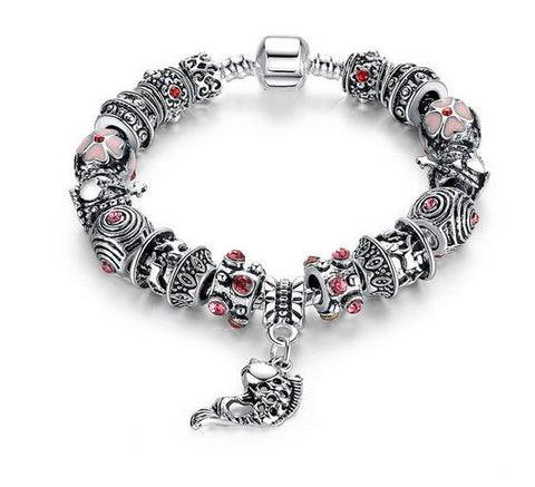 "Authentic Lenora Loaded ""Fishers of Men"" Silver Snake Chain Classic Barrel Clasp European Charm Bracelet"