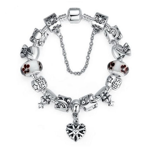 "Authentic Lenora Loaded ""Floral Winter Day"" Silver Snake Chain Classic Barrel Clasp European Charm Bracelet"
