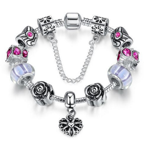 "Authentic Lenora Loaded ""My Rose"" Silver Snake Chain Classic Barrel Clasp European Charm Bracelet in Purple"
