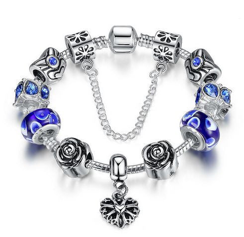"Authentic Lenora Loaded ""My Rose"" Silver Snake Chain Classic Barrel Clasp European Charm Bracelet in Blue"