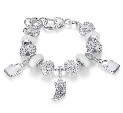 "Authentic Lenora Loaded ""Crystal White"" Silver Snake Chain Heart Clasp European Charm Bracelet"