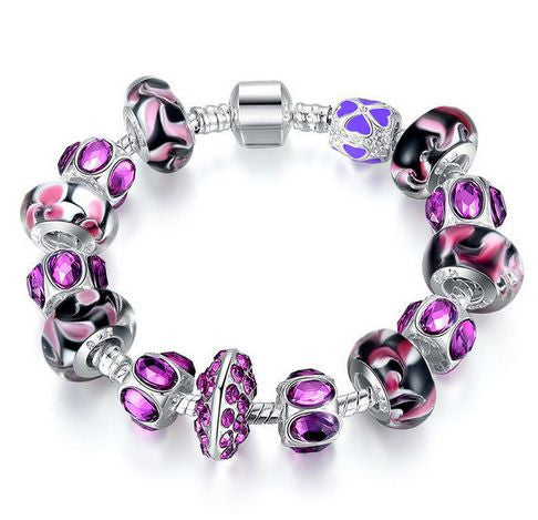 "Authentic Lenora Loaded ""Purple Sky"" Silver Snake Chain Classic Barrel Clasp European Charm Bracelet"