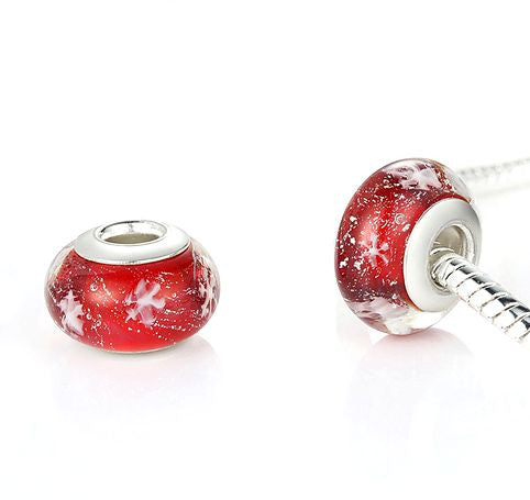 Authentic Lenora Lux Murano Glass Red Snowflakes European Charm Bead