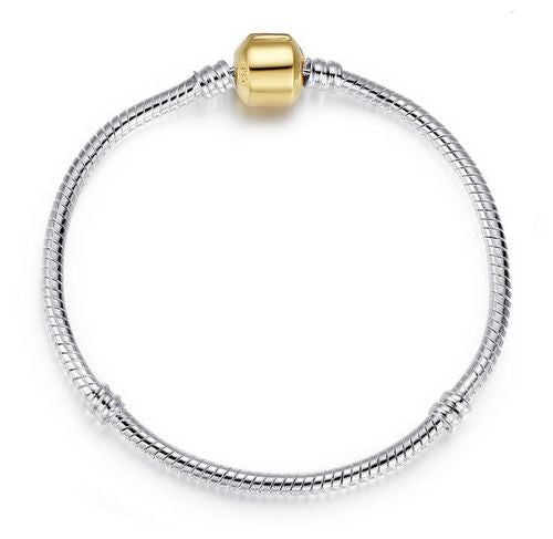 Authentic Lenora Silver Snake Chain 18k Gold Barrel Clasp European Charm Bracelet