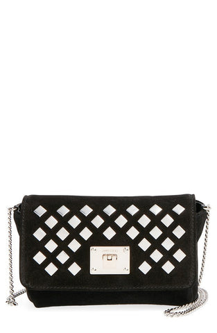 'Ruby' Studded Suede Crossbody Bag