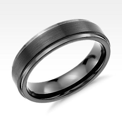 Brushed and Polished Comfort Fit Wedding Ring in Black Tungsten Carbide (6mm)