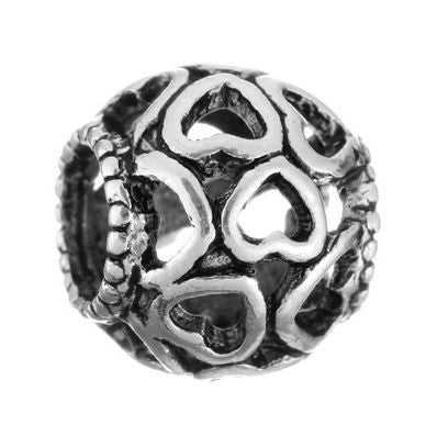 Authentic Lenora Silver Openwork Hearts European Charm Bead