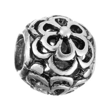 Authentic Lenora Silver Openwork Field of Flowers European Charm Bead