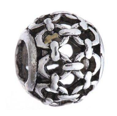 Authentic Lenora Silver Openwork Chain Link European Charm Bead