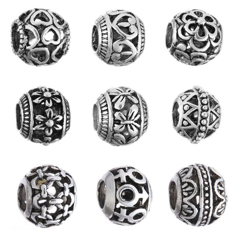 Authentic Lenora Complete Set of 9 Silver Openwork European Charm Beads