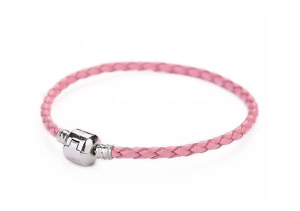 Authentic Lenora Genuine Pink Leather Barrel Clasp European Charm Bracelet