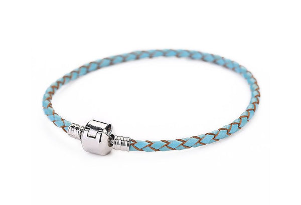 Authentic Lenora Genuine Retro Baby Blue Leather Barrel Clasp European Charm Bracelet