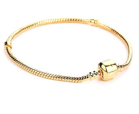 Authentic Lenora 18k Gold Barrel Clasp European Charm Bracelet