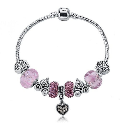 "Authentic Lenora ""Pink Fairytale"" Silver Snake Chain Barrel Clasp European Charm Bracelet"