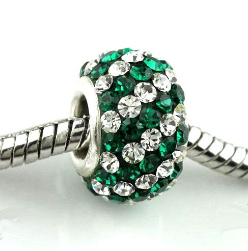 Authentic Lenora Sterling Silver & Swarovski Crystal Striped European Charm Bead - Clear & Emerald Green