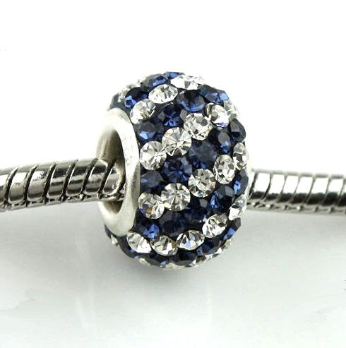 Authentic Lenora Sterling Silver & Swarovski Crystal Striped European Charm Bead - Clear & Montana Blue