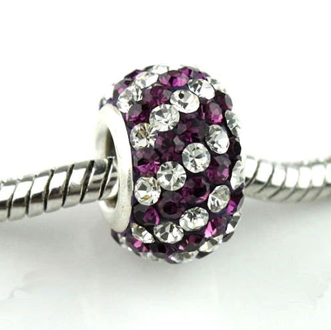 Authentic Lenora Sterling Silver & Swarovski Crystal Striped European Charm Bead - Clear & Amethyst