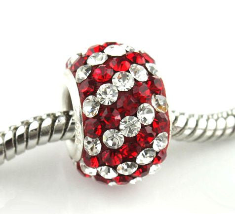 Authentic Lenora Sterling Silver & Swarovski Crystal Striped European Charm Bead - Clear & Siam Red