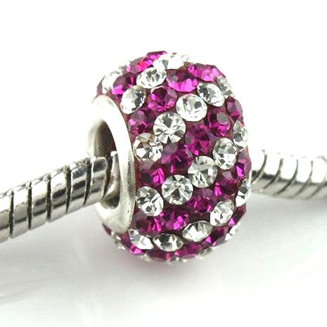 Authentic Lenora Sterling Silver & Swarovski Crystal Striped European Charm Bead - Clear & Fuchsia