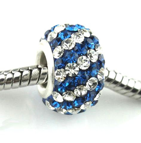 Authentic Lenora Sterling Silver & Swarovski Crystal Striped European Charm Bead - Clear & Capri Blue
