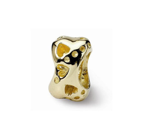 Authentic Lenora 14k Gold Dog Bone European Charm Bead - Fits All Bracelet Brands - FREE SHIPPING WORLDWIDE