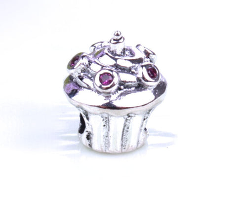 Authentic Lenora & Swarovski S925 Stamped Sterling Silver Cute Cupcake European Charm Bead - Gifts Birthdays Charms Jewelry Free Shipping