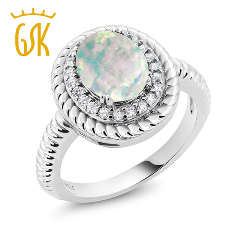 0.60 Ct Oval Cabochon White Simulated Opal 925 Sterling Silver Ring