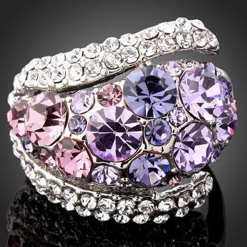 ( VOYAGER J00114) Free Shipping 1Pcs Luxury Amethyst Purple Austria Crystals Rings For Women Blue Rhinestone Studs Jewelry Sets