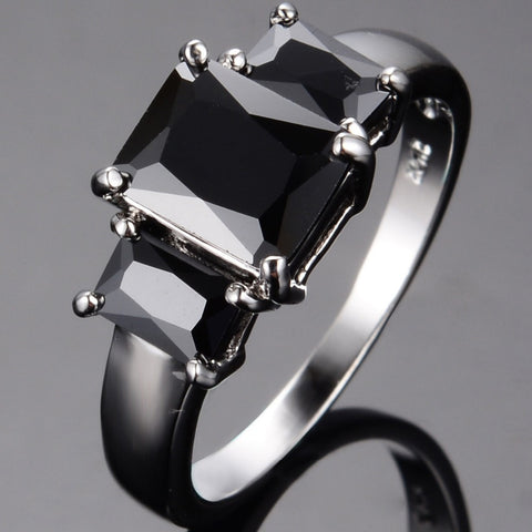 !! AAA Cubic Zirconia Black Sapphire Cut Topaz 10KT White Gold Filled Rings for Women Wedding Engagement Jewelry Alternative Measures