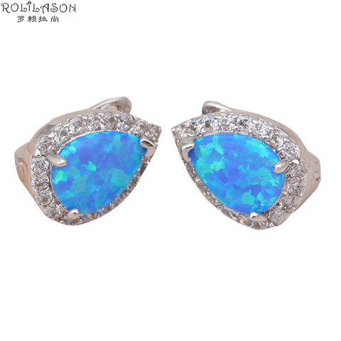 ! Hot Sell ! So Beautiful Gift ! Blue fire Opal & Zircon 925 Silver fashion jewelry Stud Earrings OE092 Alternative Measures