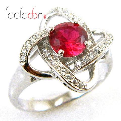 1.2ct Pigeon Blood Red Ruby Flower Ring Solid 925 Sterling Silver Women Fashion Ruby Jewelry 2016 Fine Christmas Gift for Women