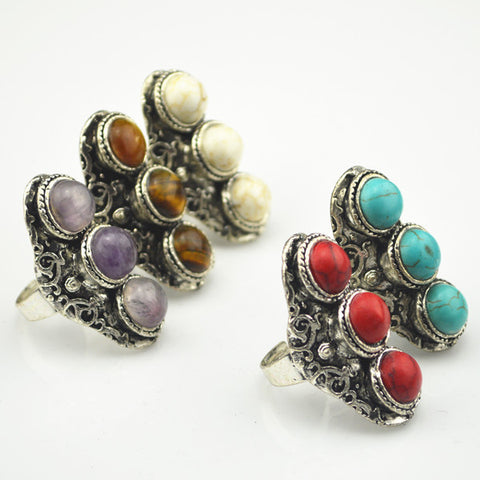 (20Piece/LOT) RM24K Wholesale Price Free Size Adjustable Ring Natural Turquoise Amethyst Jaguar Vintage Antique Silver