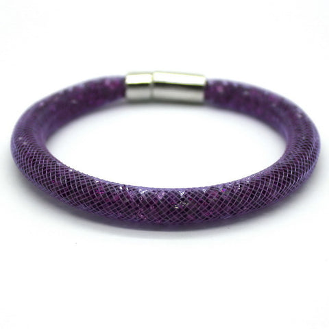 1 PCS Free Shipping! Purple Star Dust Crystal Packaging Net Magnetic Buckle Bracelet For Christmas 13 Color Can Choose