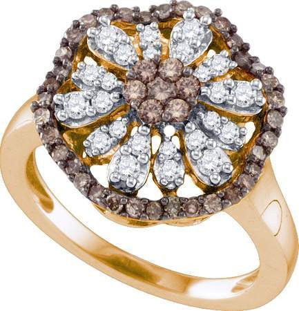 10k Rose  Pink  Gold 0.73CT Round Brown & White Diamond Flower Ring: RingSize: 7.5