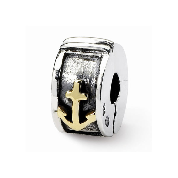 925 Yellow Sterling Silver and 14k Reflections Hinged Anchor Clip Bead