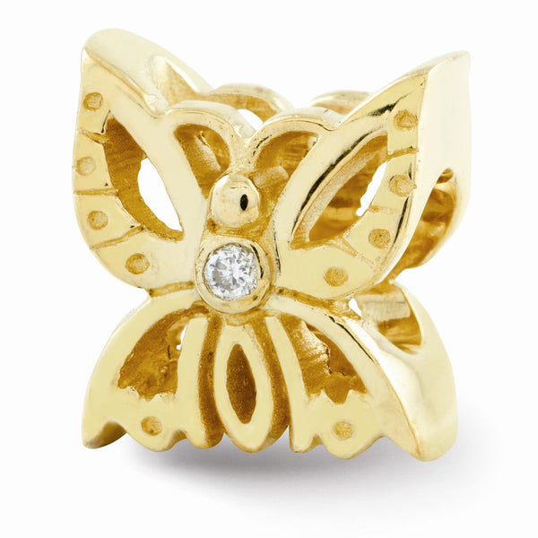 NEW ARRIVAL 14k Gold Reflections .015ct. Diamond Butterfly Bead