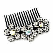 * Adorable Black Flower Comb w/ Clear Rhinestones & Aurora Borealis Crystals 6729