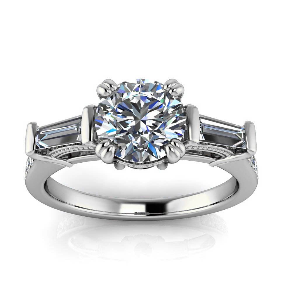 Diamond Baguette Vintage Style Forever One Moissanite Engagement Ring - Venice - Moissanite Rings