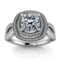 Cushion Cut Engagement Ring Double Halo Diamond Setting Moissanite Center - Julissa